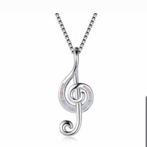 Fire opal music note.Sterling silver